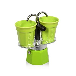 Bialetti - Mini Express Espresso Maker 2 Cup Green & 2 Green Bicchierini Coffee Cups
