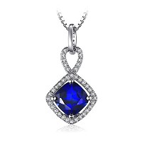 JewelryPalace クッション 2.2ct スクエア ブルー サファイア ネックレス ペンダント スターリング シルバー925 チェーン 45cm