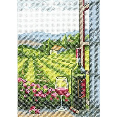"Wine With A View Mini Counted Cross Stitch Kit-5""X7"" 14 Count (並行輸入品)"