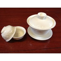 Sp_ Chinese Traditional Gaiwan Teacup (Milk White Gaiwan/150ml and Two White Dragon Teacups) by...