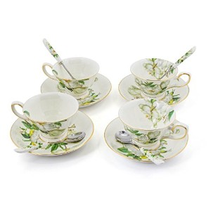 Porcelain Tea Cup and Saucerコーヒーカップセットホワイト色Saucerとスプーン8オンスのセット4tc-bsh