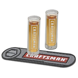 Craftsman ( 2) (ショットグラスソケットShaped )ギフトセットwith Beverage Mat and Collectible Tin