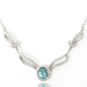 One&Only Jewellery 大粒 3ct ブルートパーズ エレガント ネックレス ペンダント K18GP 11月誕生石