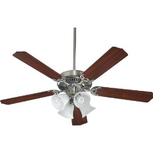 Quorum International 7752581652 Capri V 52-Inch 4 Light CFL Ceiling Fan, Satin Nickel Finish with...