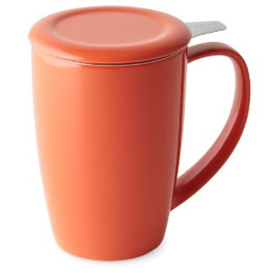 FORLIFE Curve Tall Tea Mug with Infuser and Lid 15 ounces, Carrot by FORLIFE