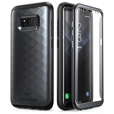 Clayco Galaxy S8+ ケース フロントフィルム付き全面保護 (2017 Release)(black)