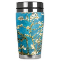 Mugzie Van Gogh Almond Blossoms Travel Mug with Insulatedウェットスーツカバー、16オンス、ブラックby Mugzie