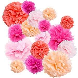 Floral Reef Variety Set of 16 (Assorted Pink Color Pack) consisting of 8 10 14 Tissue Paper Pom...