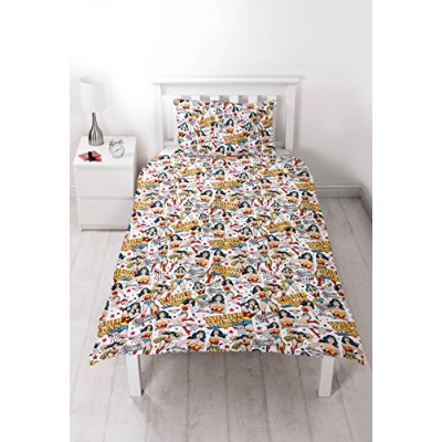(Multi-Colour, Single) - DC Comics Wonder Woman 'Power' Single Duvet Set - Repeat Print Design