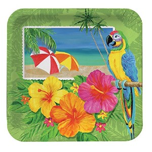 Creative Converting 8Count Square Paper Dinner Plates、トロピカルハワイアン