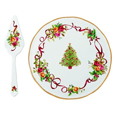 Royal Albert OLD COUNTRY ROSES Christmas Tree Low Cake Plate & Server