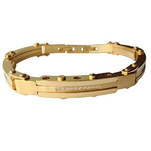 J ShineメンズIced Out Bling Bracelet In Gold ToneステンレススチールPaveジルコンgb601