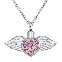 luckyjewelryピンククリスタルハートUrnネックレスAngel Wings Memorial Pandant Cremation Necklaces for灰