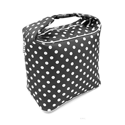 (Polka Dot - Black White) - Lunch Bag for women,KOSOX Thermal Insulated Oxford Lunch Box, Portable...