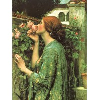 油絵 John William Waterhouse_ バラの香り