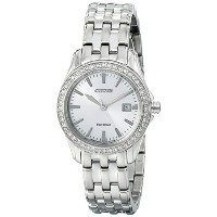 Citizen Eco-Drive Women's EW1901-58A Silhouette Crystal Analog Display Silver Watch