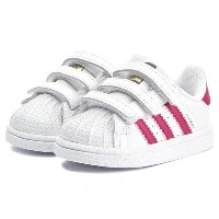 ADIDAS アディダス INFANTS SUPERSTAR SHOESFootwear White/Bold Pink/Footwear Whiteインファント スーパースター白ピンク