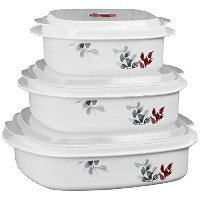 Corelle Coordinates Kyoto Leaf Microwave Cookware and Storage Set, Grey/Cabernet by Corelle...