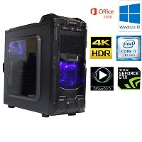 7世代 ゲーミングPC Core i7 7700K 4.20 Ghz/メモリーDDR4 16GB/SSD 525GB/HDD 2TB/GeForce GTX 1050ti (4GB)/B250M...