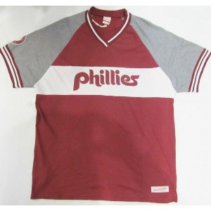 AF19)MITCHELL&NESS「phillies」VネックTシャツ半袖(3454A)☆US購入