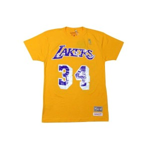 MITCHELL&NESS T-SHIRTS (Shaquille O'Neal NAME&NUMBER/LOS ANGELES LAKERS: YELLOW)ミッチェル&ネス/Tシャツ/黄色