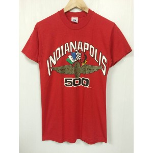 """LOGO 7 """"INDUANAPOLIS MOTOR SPEEDWAY"""" プリント クルーネック 半袖 Tシャツ 赤 Made in U.S.A 【サイズ:M (38-40)】【US古着】【中古】..."""