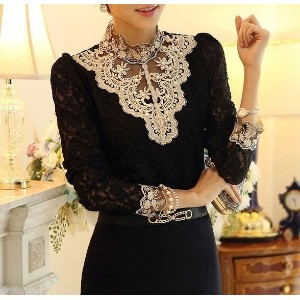Sexy Ladies Long Sleeve Casual autumn winter Lace Floral Womens Tops Shirt Blouse