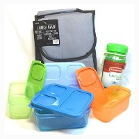 Insulated Lunchバッグwith Rubbermaid Lunch Blox Sandwichキットand Drink Bottleバンドル–グレー