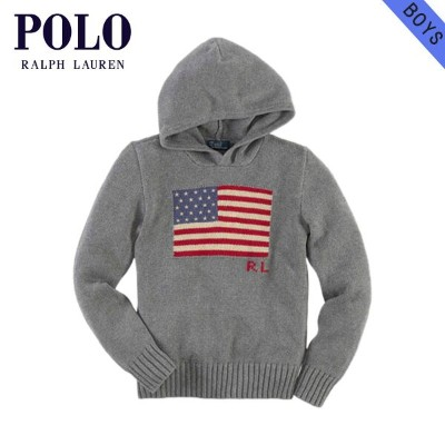 【35%OFFセール 8/17 10:00~8/23 9:59】 ポロ ラルフローレン キッズ POLO RALPH LAUREN CHILDREN 正規品 子供服 ボーイズ パーカー Hooded Flag Sweater #22358486 GREY