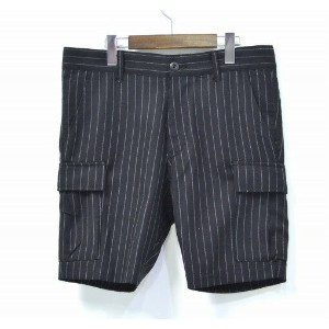 【中古】 SWAGGER (スワッガー) STRIPE CARGO SHORTS ストライプカーゴショーツ 30 BLACK ショートパンツ ハーフパンツ 短パン