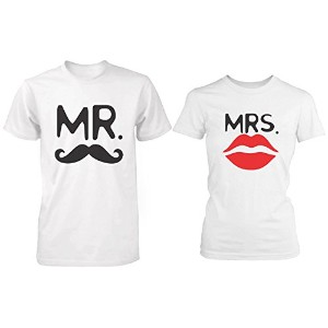 Mr. & Mrs. Mustache&Lip 2 Couple T-Shirt WHITE Matching Couple T-Shirts