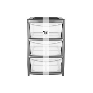EHC Large 3-Drawer Tower Plastic Storage Unit, Silver by EHC