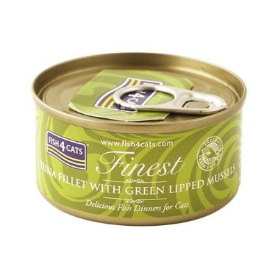 【FISH4CATS】フィッシュ4キャット缶詰「ツナ&緑イ貝」TUNA FILLET WITH GREEN LIPPED MUSSELS/ケース(70g×10 缶入)
