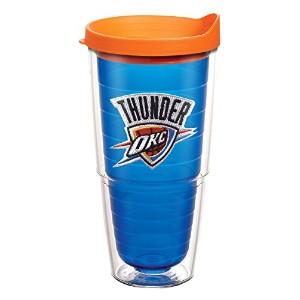 "Tervis 1085981 "" NBA OK City Thunder "" Tumbler withオレンジ蓋、エンブレム、24オンス、サファイア"