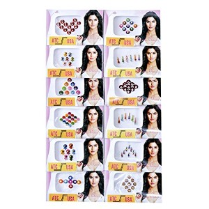 12 Different Packets of India Traditional Bindi Tika Tattoo