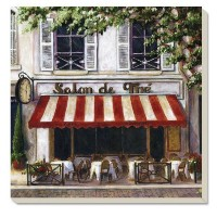CounterArt Absorbent Coasters, 'Street Cafe', Set of 4 [並行輸入品]
