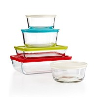 10ピースPyrex Simplyストアセットwith Colored Lids