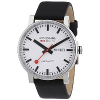 Mondaine モンディーン メンズ腕時計 Mens Day/Date Automatic Watch A1323034811SBB White Dial - Black Leather Strap