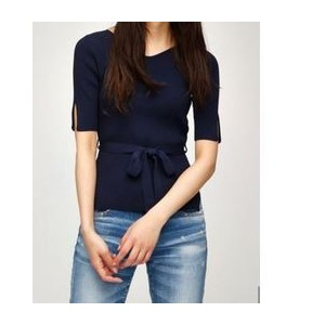 SLIT SLEEVE BELTED TOP【マウジー/MOUSSY レディス Tシャツ・カットソー NVY ルミネ LUMINE】
