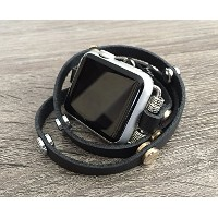 Black Leather Bracelet For Apple Watch Series 1 2 & 3 (42mm) Handmade Multi Wrap Band Two Toned...