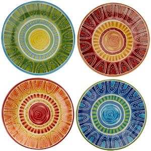 Certified International手描きTapas 11.25-inch AssortedセラミックDinner Plates ( Set of 4 )