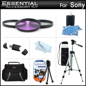 """Essential アクセサリー キット For ソニー DCR-SX45 Handycam Camcorder インクルーズ 50"""" Tripod + Deluxe ケース + 3PC フィルタ..."""