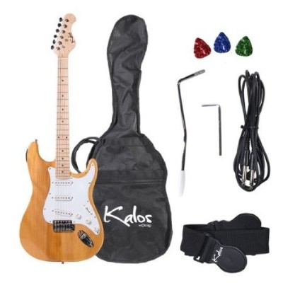 Kalos 1EG-NW 39-Inch エレキギター with Gig Bag , 3 Picks, Strap, Amp Cable, and Tremolo Arm - Full