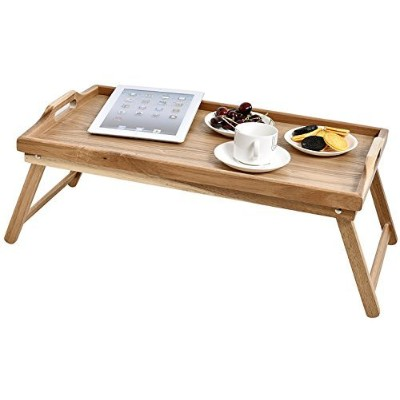 WELLAND Acacia Wood Breakfast Bed Tray Serving Tray with Handle, Foldable Legs by WELLAND