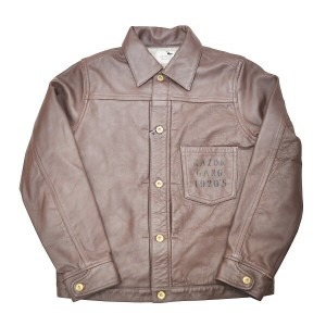 "GANGSTERVILLE STAY SHARP G - JACKET ""COW HIDE"" (BROWN) ギャングスタービル レザー ジャケット/GLADHAND【WEIRDO/ウィアード..."