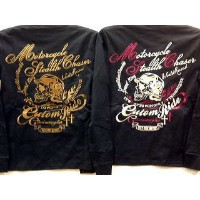 【VIBES掲載】LOW BLOW KNUCKLE アメカジ 長袖Tシャツ ヘルメットスカル 【コンビニ受取対応商品】