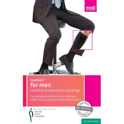 Mediven for Men 8-15 mmHg Knee High Support Socks Size: X-Large, Color: Black by Medi