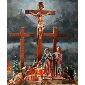 Life of Christ Fontanini Life of Christ Depicts The Crucifixion Scene and The Crucifix Cross, 13.75...
