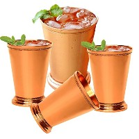"Set of 4 – PrishaインドCraft Mint Julep Cup – 100 % Solid Pure Copper – 13ozビーズ4.5 "" Tall – Traveller ..."