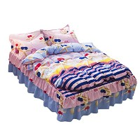 Zhhlinyuan 枕カバー 掛け布団カバー Bed Skirt Set Home Ruffles Duvet Cover With Fitted Sheet & Pillowcase